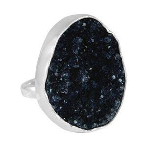 Silber Ring schwarzer Amethyst Fair-Trade und handmade - pakilia