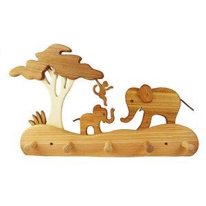 Kindergarderobe aus Holz | Elefanten - Mitienda Shop