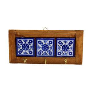 Schlüsselbrett ausHolz und  Keramik - 3 Haken   blau  - Mitienda Shop