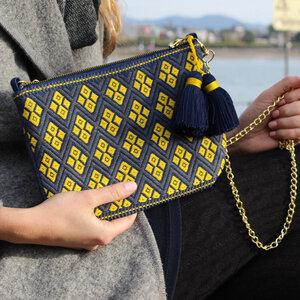 Handtasche blau/gelb- Juanita Schultertasche - Mitienda Shop