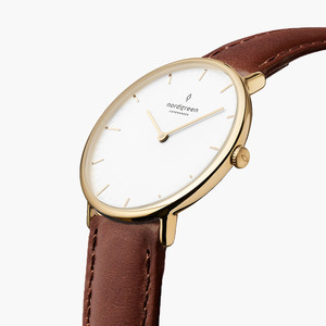 Armbanduhr NativeGold | Weißes Ziffernblatt - Lederarmband - Nordgreen Copenhagen