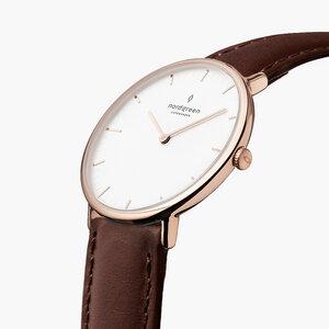 Armbanduhr Native Roségold   Weißes Ziffernblatt - Lederarmband - Nordgreen Copenhagen