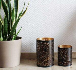 Teelichthalter zylindrisch 12,5 cm | Loop schwarz/golden - Mitienda Shop