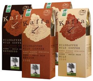 Kaffa- Bio Kaffee- Wildkaffe Probierpaket, ganze Bohne, 4 x 250g - Kaffa- Bio Kaffee- Wildkaffee