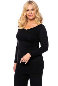 LORA Langarm Shirt aus seidigem Modal-Jersey in schwarz - Ingoria