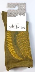 "GOTS zertifizierte Baumwolle Socken  mit "" Holzfarn "" Print - VNS Organic Socks"