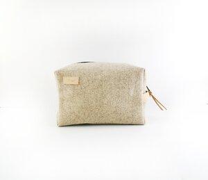 Kulturtasche aus Filz mit feinen Lederdetails  - Süßstoff