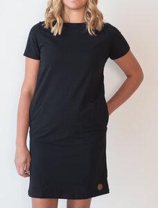 Blaa! Frauen Kurzarm Kleid schwarz mit Taschen - Blaa!
