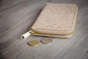 Portemonnaie - Vegan Cork Wallet, Brieftasche aus Kork mit Zipper - BY COPALA
