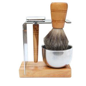 Rasierständer/-halter SYLT PLUS mit Metalltiegel für Rasierhobel & Pinsel - Olivenholz erleben