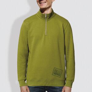 """Herren Sweater mit Reißverschluss, """"Kurz und gut"""", Moss Green - little kiwi"""
