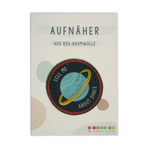 Aufnäher Planet 'Tell Me About Space' aus Bio-Baumwolle - TELL ME