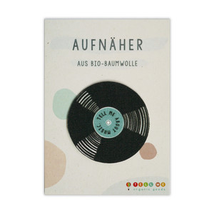 Aufnäher Vinyl 'Tell Me About Music' aus Bio-Baumwolle - TELL ME