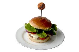 4er Set Burgerspieße aus Edelstahl und Griff aus Olivenholz - Olivenholz erleben