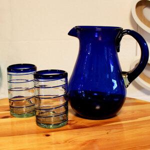 Gläser 4er Set Spirale blau | 10 cm  - Mitienda Shop