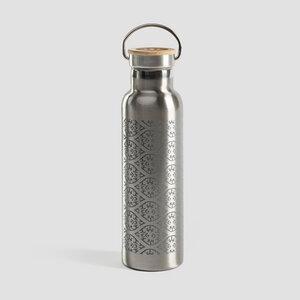 Edelstahl Trinkflasche mit Bambusdeckel - Blockprint - Lotuscrafts