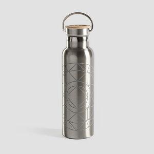Edelstahl Trinkflasche mit Bambusdeckel - Mandala - Lotuscrafts