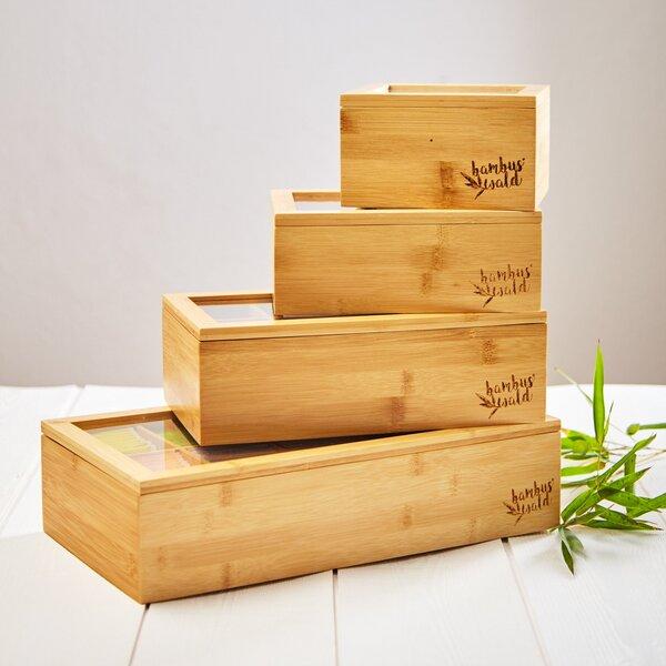 Teebox aus 100% Bambus mit 4 bis 12 Fächern | Teekasten Teekiste
