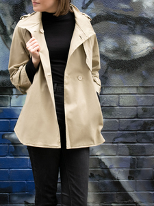 Continental Parka Beige Cotton Gaberdine Frauen - Will's Vegan Shop