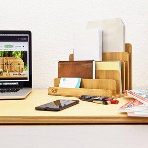 Zeitschriftenhalter - Briefablage aus Bambus - Schreibtisch Organiser - Bambuswald