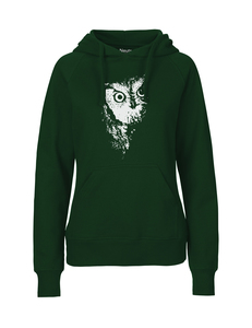 "Fair gehandelter Bio Frauen Hoodie ""Eule"" vegan, organic & fair GREEN - ilovemixtapes"