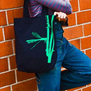 'Frühe Adonislibelle' Shopper aus BIO-BAUMWOLLE  - shop handgedruckt