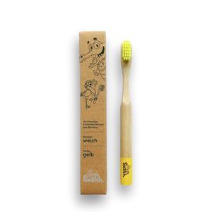Nachhaltige Bambus Kinder-Zahnbürste - Gelb - Weich - Powdy & Snatch
