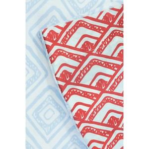 Bettbezug + 2 Kissenbezüge aus Bio-Baumwolle blau/rot 220 x 240 cm - Kadolis
