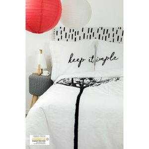 Bettbezug + 2 Kissenbezüge aus Bio-Baumwolle mit Aufschrift 220 x 240 cm - Kadolis