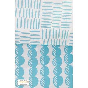 Bettbezug + 2 Kissenbezüge aus Bio-Baumwolle in blau mit Kieselsteinmuster 220 x 240 cm - Kadolis