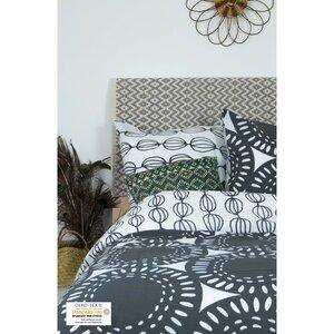 Bettbezug + 2 Kissenbezüge aus Bio-Baumwolle mit grauem Rosenmuster 240 x 260 cm - Kadolis
