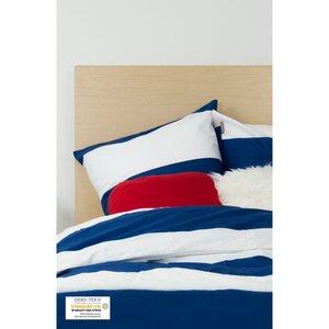 Bettbezug + 2 Kissenbezüge aus Bio-Baumwolle marineblau und weiß 240 x 260 cm - Kadolis