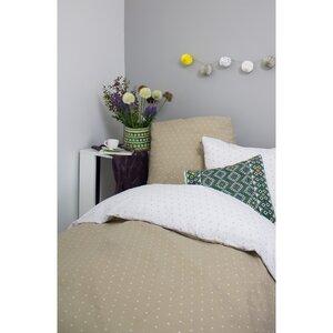 Bettbezug + 2 Kopfkissenbezüge aus taupeähnlicher Bio-Baumwolle 220 x 240 cm - Kadolis
