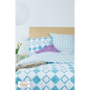 Bettbezug + 2 Kissenbezüge aus Bio-Baumwolle mit Rautenmuster 220 x 240 cm - Kadolis