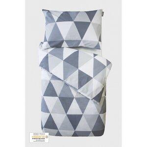 Baby-Bettdeckenbezug mit Dreiecksmotiven + Kissenbezug aus Bio-Baumwolle - Kadolis