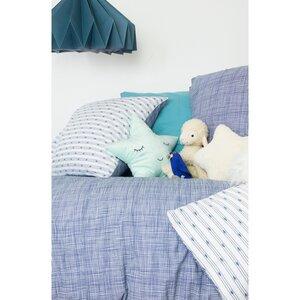 Kinderbettdeckenbezug aus blau melierter Bio-Baumwolle + Kissenbezug - Kadolis