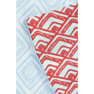Bettbezug + 2 Kissenbezüge aus Bio-Baumwolle blau/rot 240 x 260 cm - Kadolis