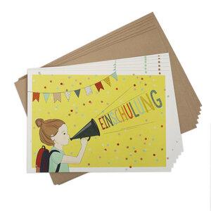 Einladungskarten-Set zur Einschulung Mädchen - TELL ME