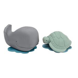 Badespielzeug Ingolf der Wal & Dagmar die Schildkröte - Grey & Mint - Hevea
