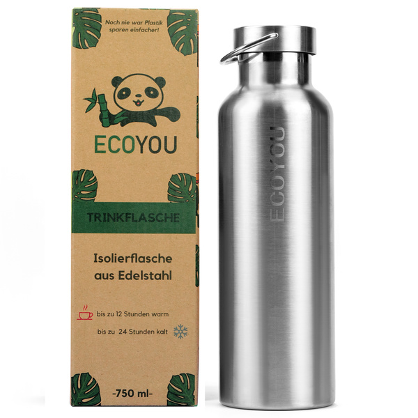 EcoYou Edelstahl Trinkflasche Isolierflasche 750 ml Thermosflasche