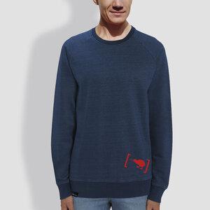 "Herren Sweater, ""Klammer"", Mid Washed Indigo - little kiwi"
