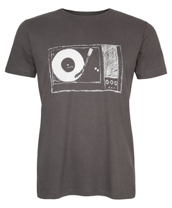 Plattenspieler Organic Men Shirt _ dark grey / ILK01 - ilovemixtapes