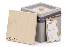 Betonfeuer Beske-Manufaktur 13x13x13 Dauerdocht Kerzenwachsrecycling - beske