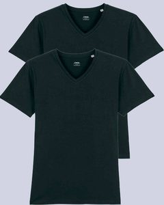 2er Pack Herren T-Shirt mit V-Ausschnitt, Bio-Qualität - YTWOO