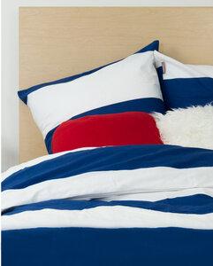 Bettbezug + 2 Kissenbezüge aus Bio-Baumwolle marineblau und weiß 220 x 240 cm - Kadolis