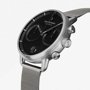 Chronograph Pioneer Silber | Schwarzes Ziffernblatt - Mesharmband - Nordgreen Copenhagen