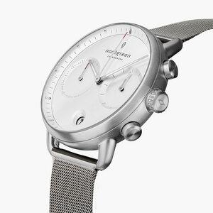 Chronograph Pioneer Silber | Weißes Ziffernblatt - Mesharmband - Nordgreen Copenhagen