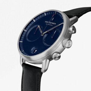 Chronograph Pioneer Silber | Blaues Ziffernblatt - Lederarmband - Nordgreen Copenhagen