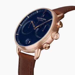Chronograph Pioneer Roségold   Blaues Ziffernblatt - Lederarmband - Nordgreen Copenhagen