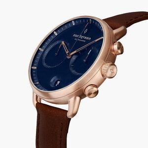 Chronograph Pioneer Roségold | Blaues Ziffernblatt - Lederarmband - Nordgreen Copenhagen